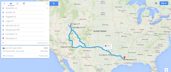 kate's road trip map