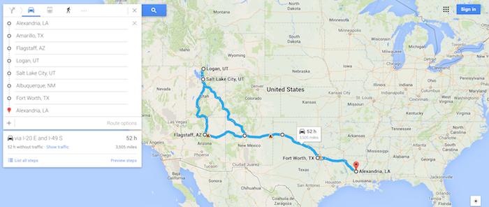 kate's road trip map