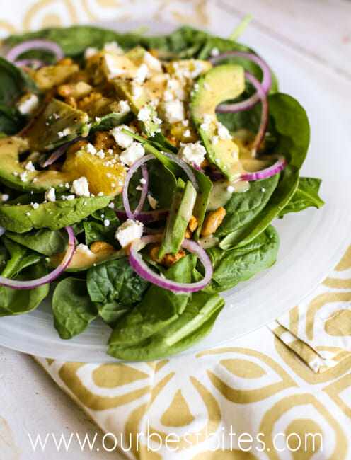 Pepper Jelly Vinaigrette Spinach Salad from Our Best Bites