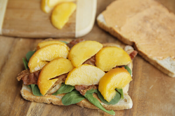 Peaches on open-faced sandwich
