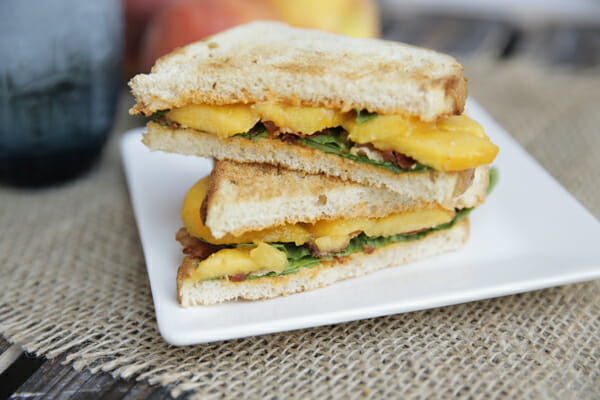 Sliced Peach Bacon Sandwich