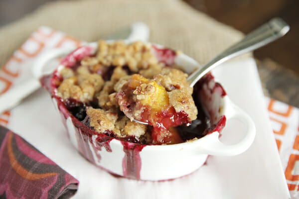 Spooned Peach Blackberry Crisp