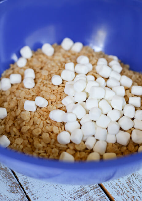rice krispies and marshmallows in bowl