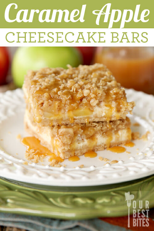 Amazing Caramel Apple Cheesecake Bars from Our Best Bites