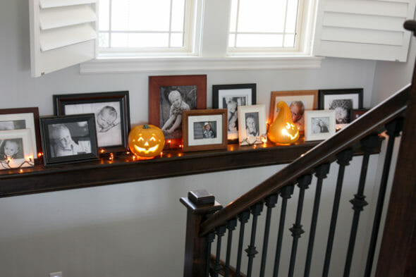 Our Best Bites_Family Photo Shelf on Stairway