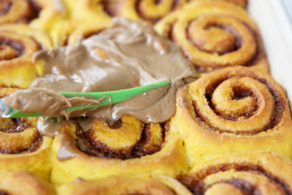 Pumpkin Spice Cinnamon Rolls with Maple Glaze - Our Best Bites