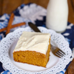 Pumpkin Snack Cake {with Cream Cheese Frosting}