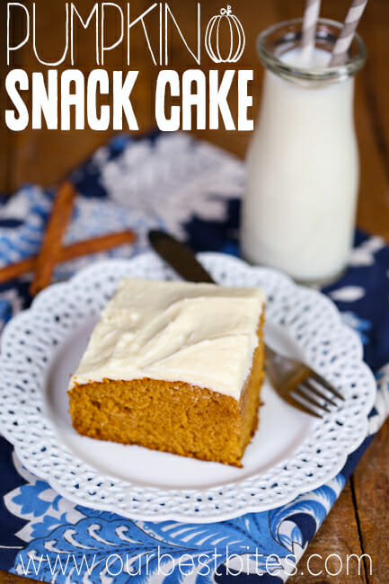 Pumpkin Snack Cake with Cream Cheese frosting from Our Best Bites.