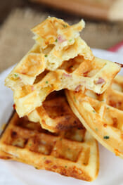 Ham and Cheddar Waffles from Our Best Bites Intro