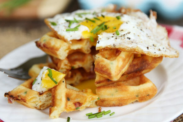 Ham and Cheddar Waffles with Fried Egg from Our Best Bites