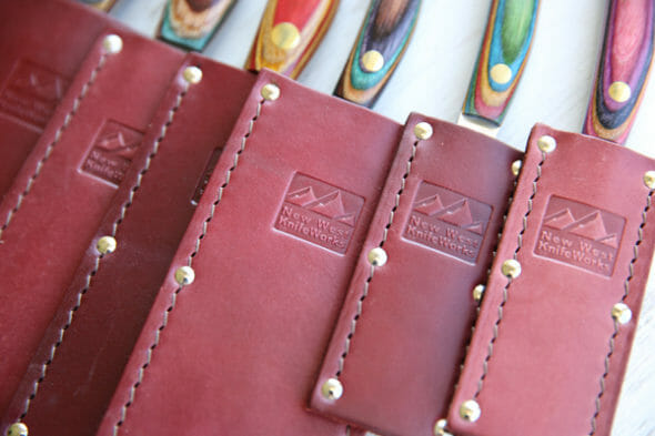 New West Knifeworks in Leather Pouches