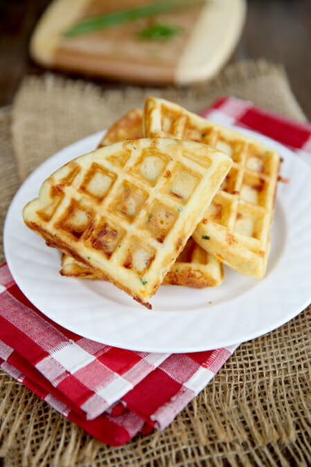 Yummy Ham and Cheddar Waffles from Our Best Bites
