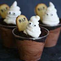 Ghosts in the Graveyard chocolate pudding cups from Our Best Bites