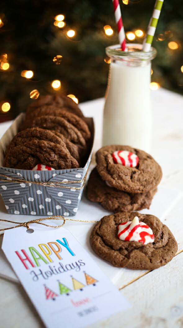 chocolate peppermint kiss cookies-10
