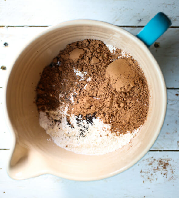 cocoa powder with dry ingredients