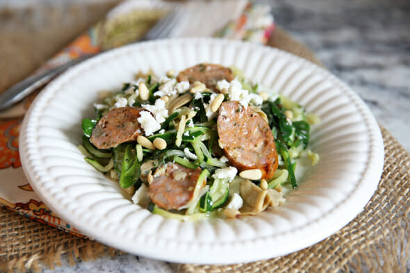 Zoodle and Chicken Sausage Bowl