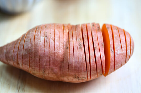 sliced hasselback sweet potato
