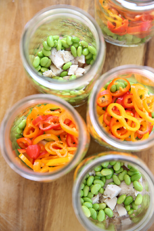 Layered Vegetables in jars