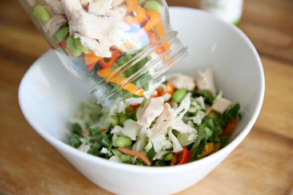Pouring Salad Jar