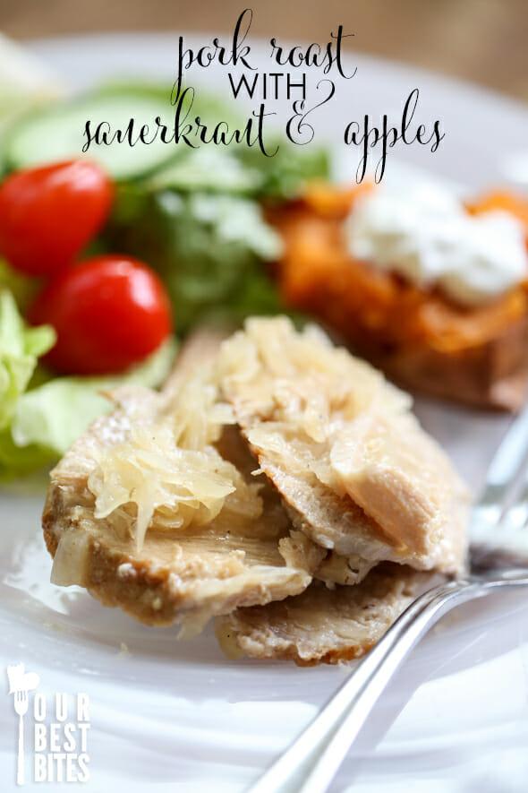 Crock Pot Pork Roast with Sauerkraut and Apples - Our Best Bites