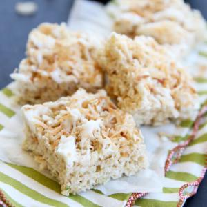 Toasted Coconut Lime Rice Krispie Treats