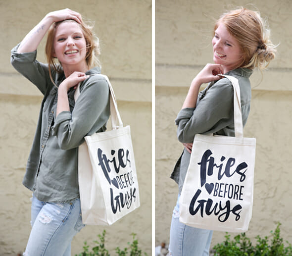 Fries Bag on Model