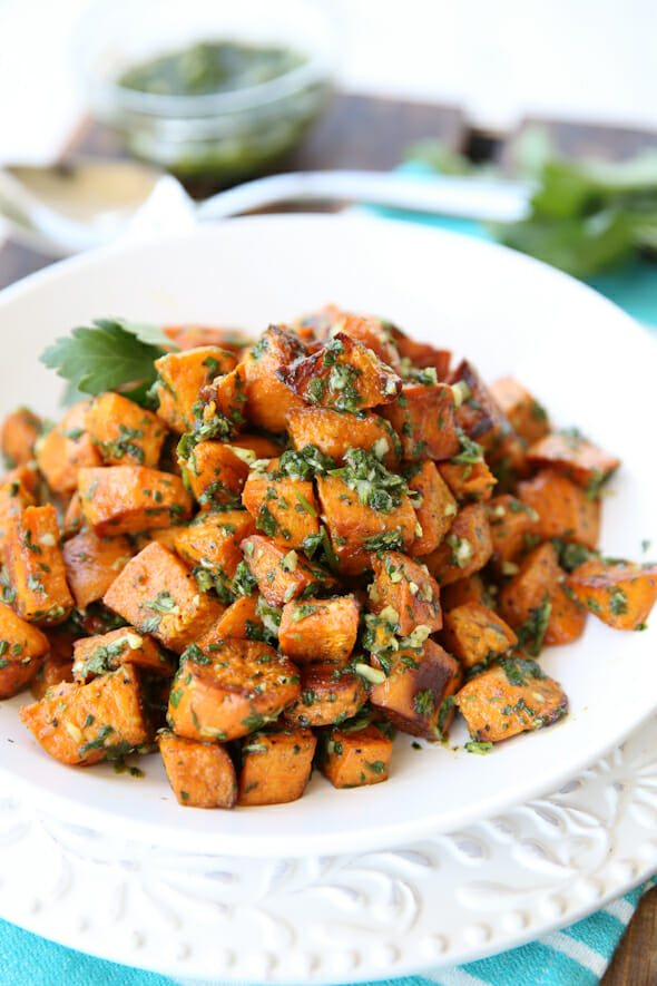 Sweet and Savory Roasted Sweet Potatoes with Chimichurri
