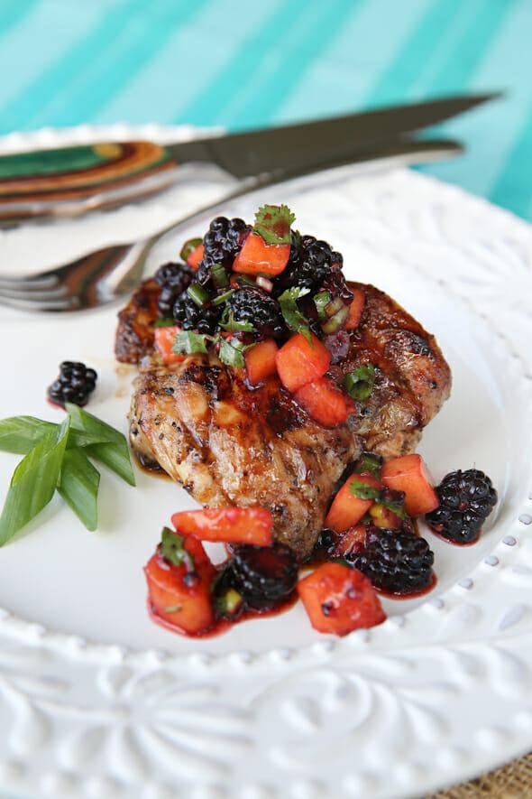 Grilled Chicken with Blackbery Peach Salsa