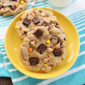 Giant Loaded Chocolate Peanut Butter Cookies
