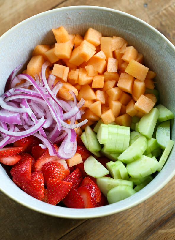 Strawberry, Cucumber, and Melon Salad-4