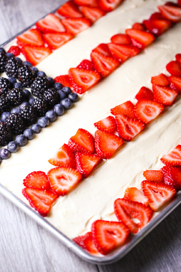 red white and blue Texas sheet cake