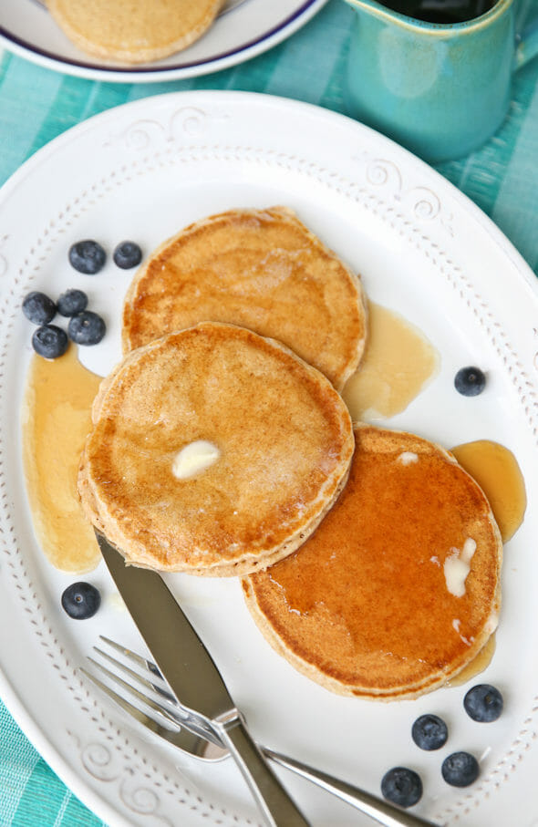 Whole Wheat Pancakes from ourbestbites.com