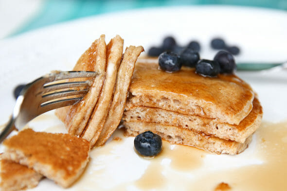100% Whole Wheat Pancakes from ourbestbites.com
