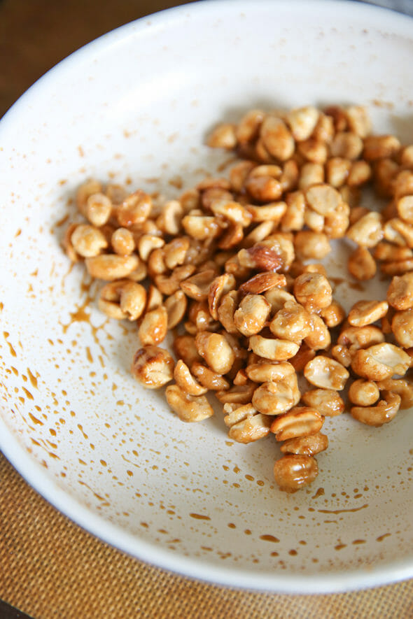 candied peanuts in pan