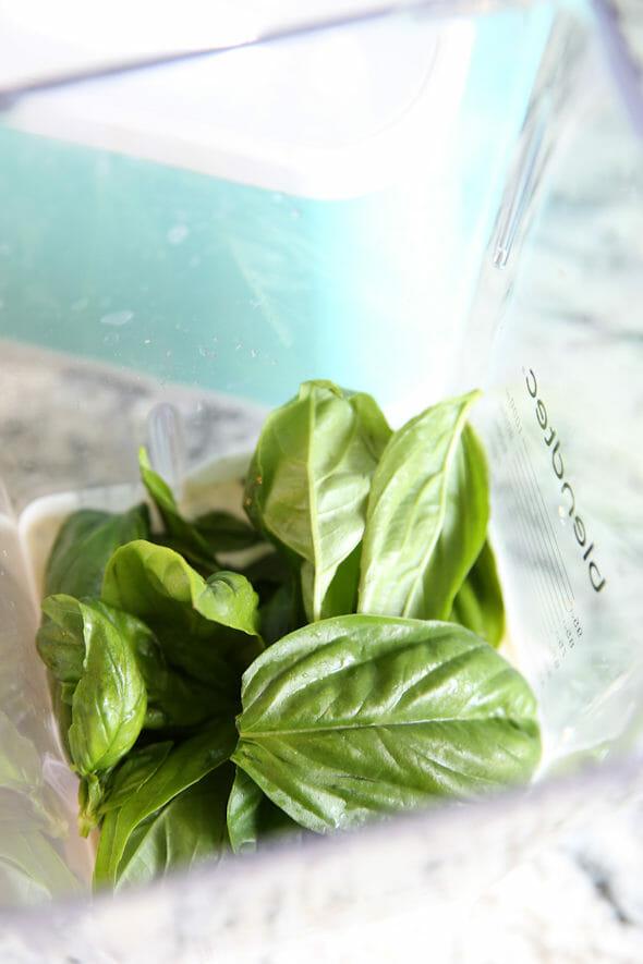 Fresh Basil in Blender
