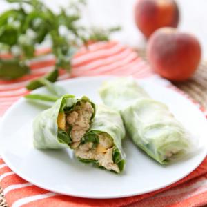 Peach-Basil Chicken Salad Spring Rolls