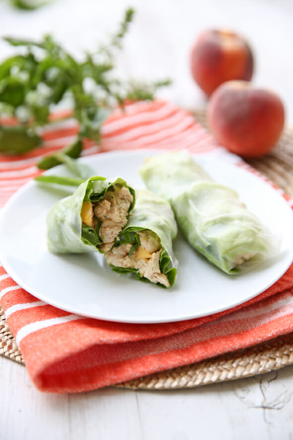 Peach Basil Chicken Salad Spring Rolls from ourbestbites.com!