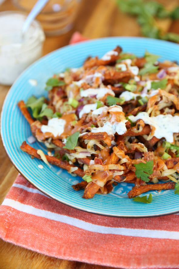 Loaded Sweet Potato Fries from Our Best Bites