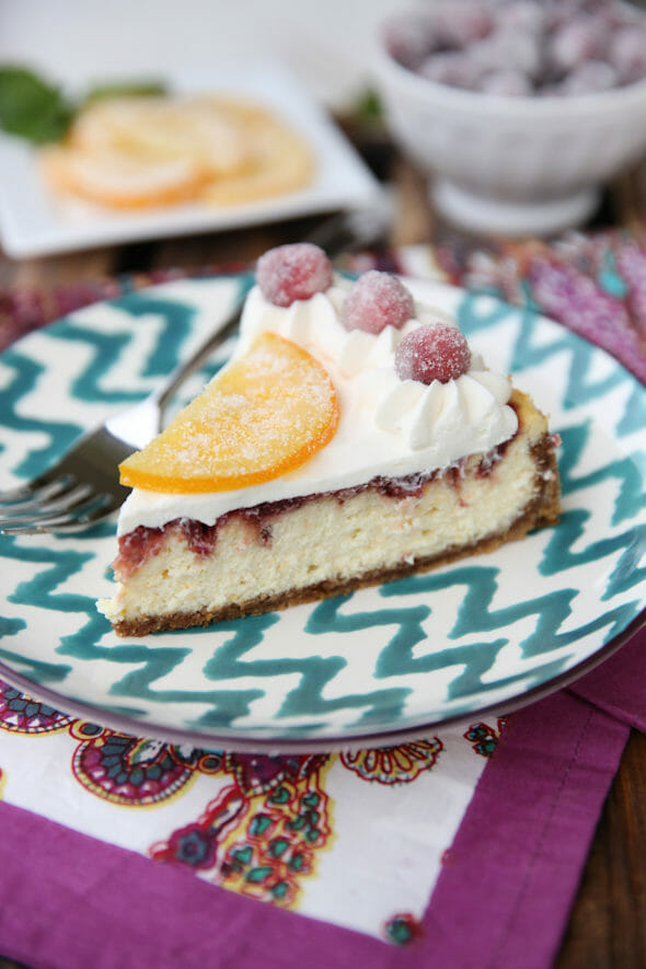 Sliced Cranberry Orange Cheesecake