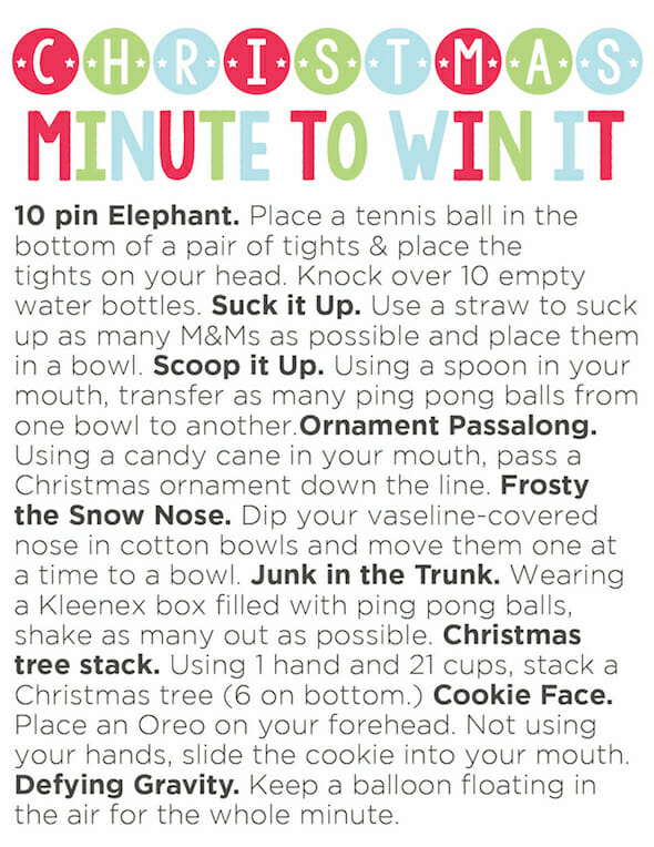 Christmas Minute To Win It Party Plus Printable Our