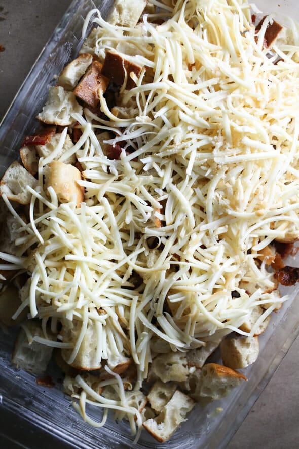 caramelized onion strata_mozzerella cheese