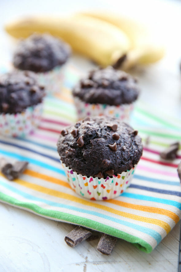 Skinny Chocolate Banana Muffins