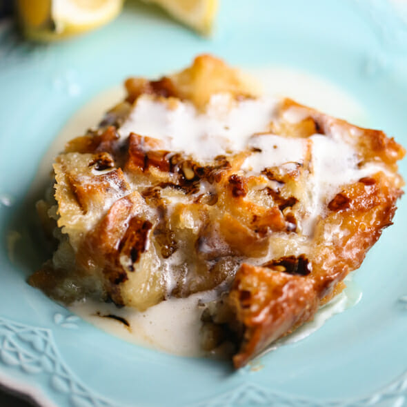 Lemon Bread Pudding with Fig & Creamy Lemon Sauce