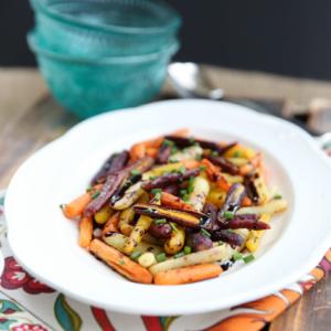 Roasted Rainbow Carrots with Balsamic Glaze