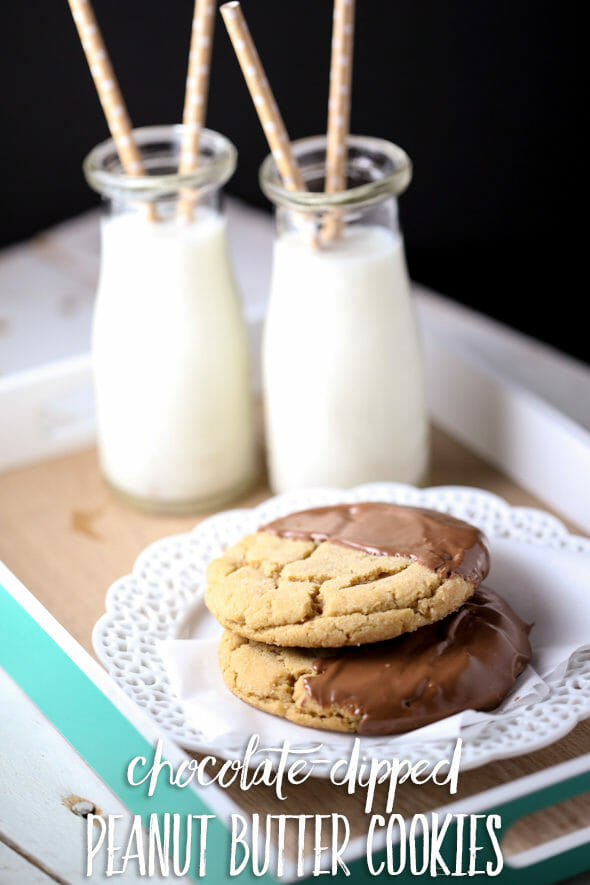 Giant Chocolate-Dipped Peanut Butter Cookies - Our Best Bites