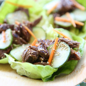 Asian Beef Lettuce Wraps with Tangy Cucumbers