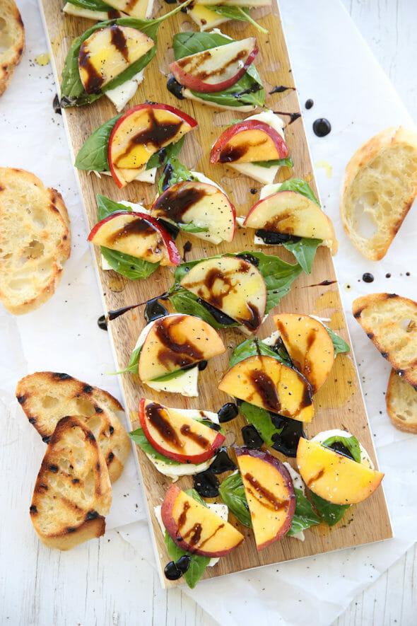 Peach Basil Caprese Salad