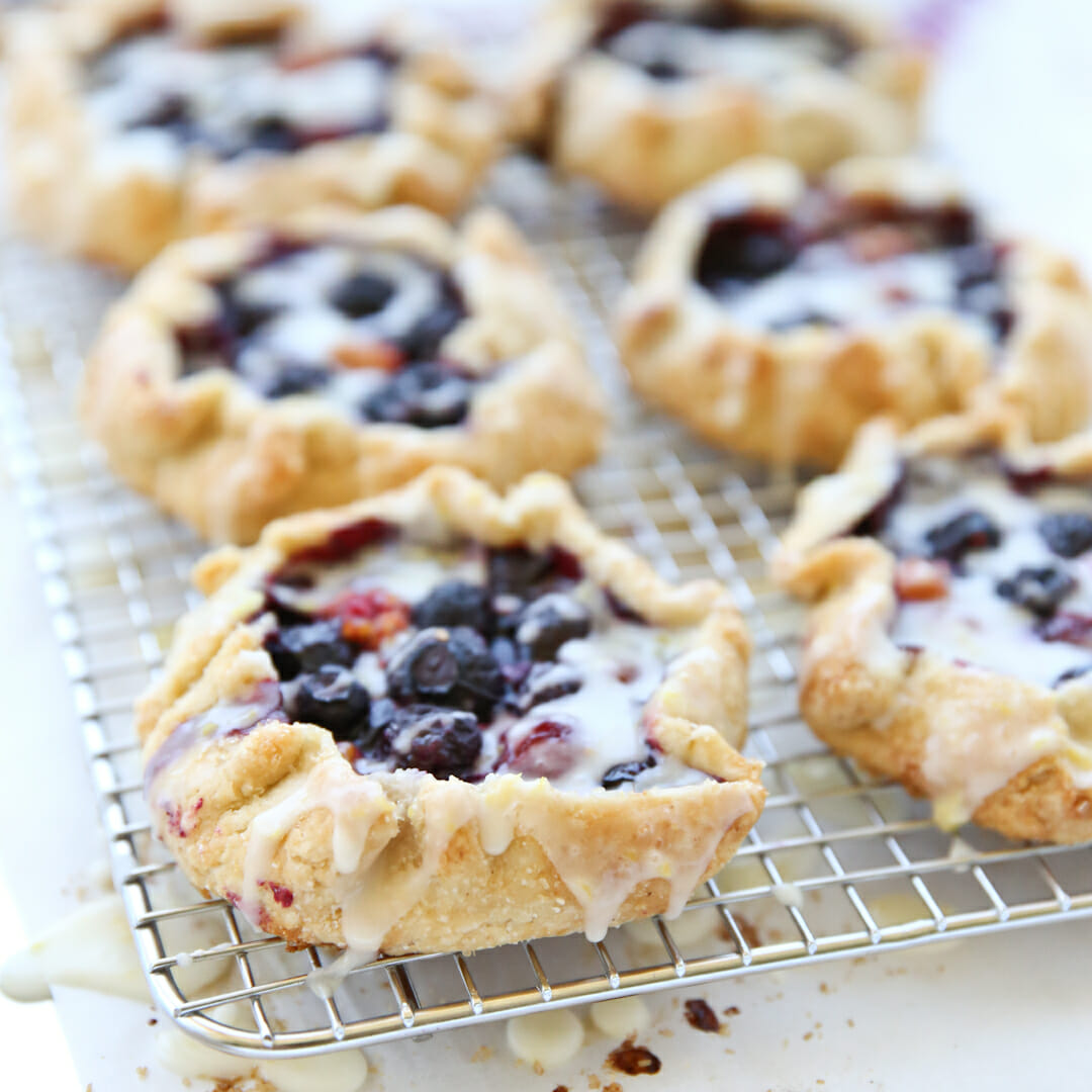 Lemon-Glazed Berry Galettes with Cornmeal Crust