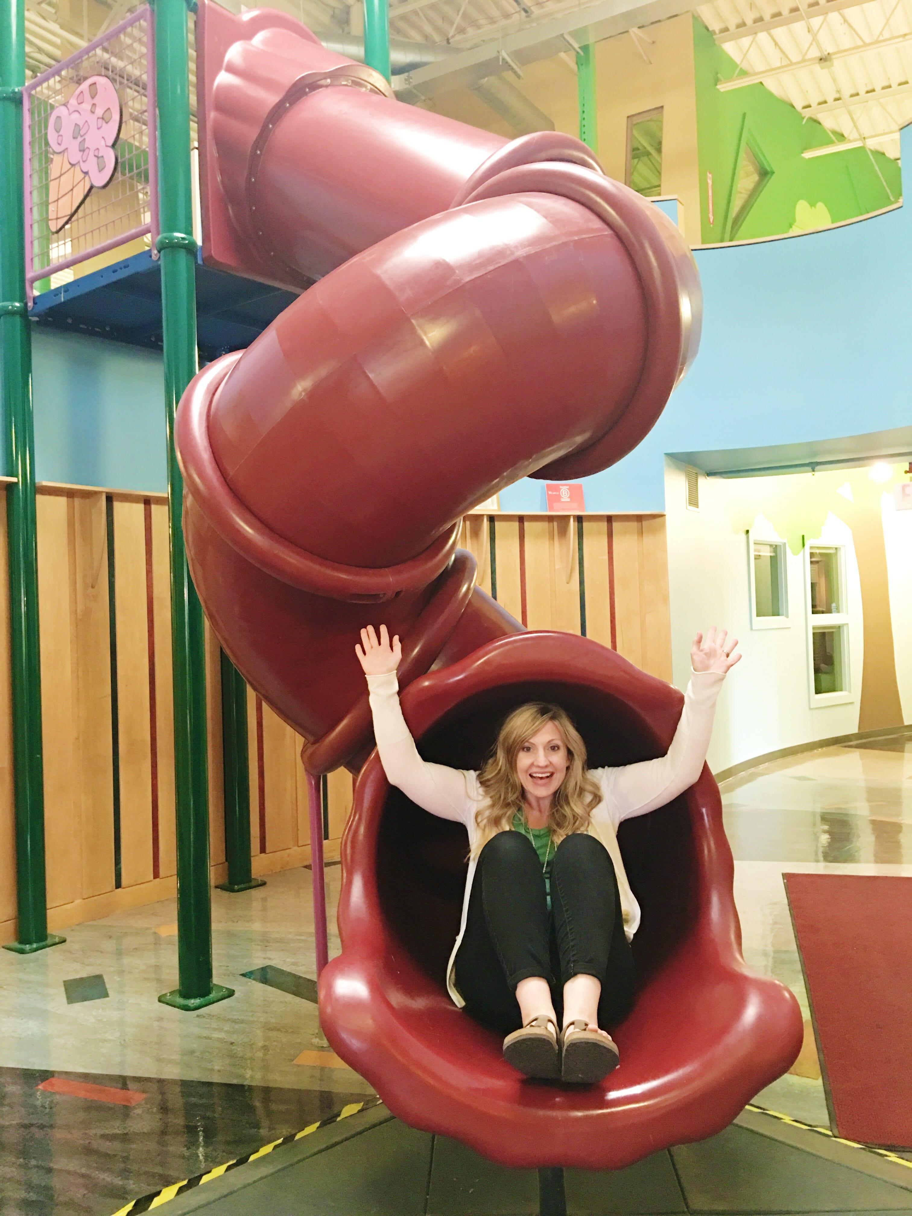 sara on slide