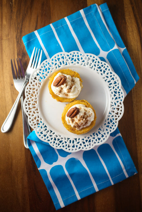 Mini Pumpkin Tarts Topped With Pecans